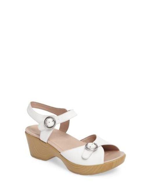 Dansko | White June Platform Sandal | Lyst