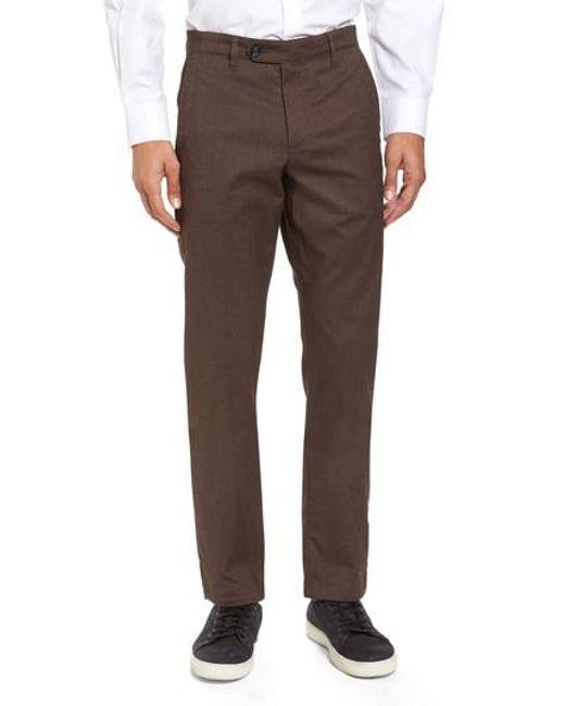 Ted Baker | Brown Freshman Modern Fit Brushed Pants for Men | Lyst