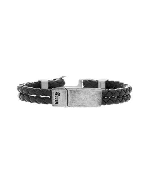 Steve Madden | Black Braided Leather Bracelet for Men | Lyst