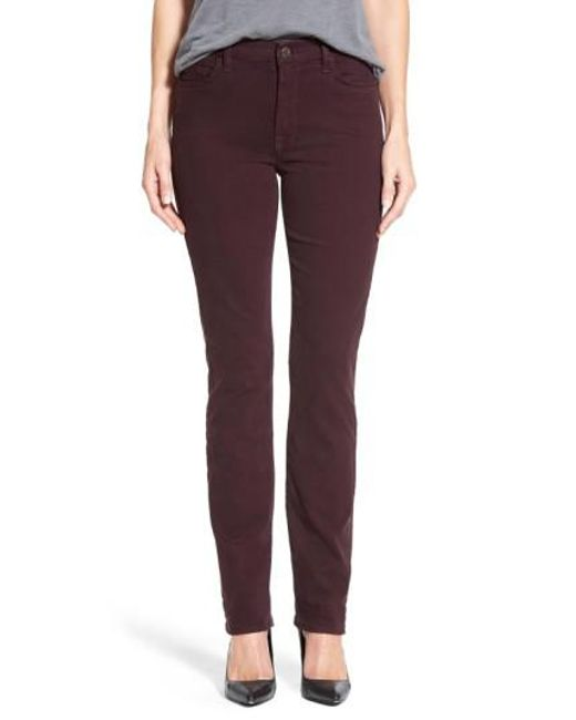 Jen7 | Purple Straight-Leg Stretch-Sateen Pants | Lyst