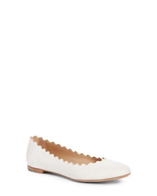 Chloé - White 'lauren' Scalloped Ballet Flat - Lyst