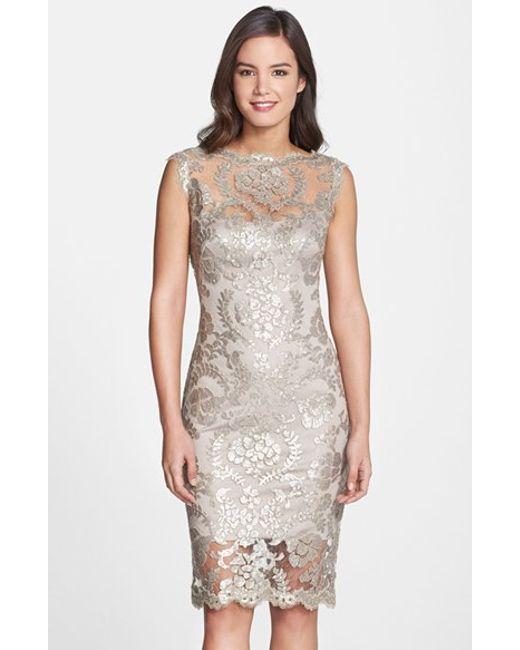 Tadashi Shoji | Metallic Sequin Illusion Lace Dress | Lyst