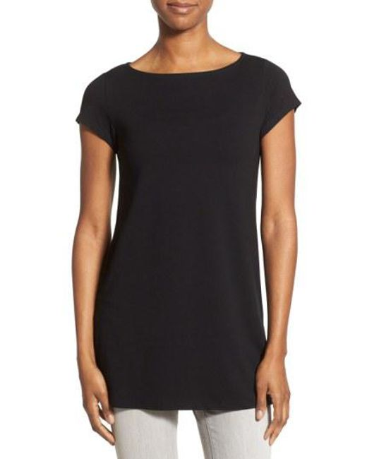 Eileen Fisher - Black Bateau Neck Tunic Top - Lyst