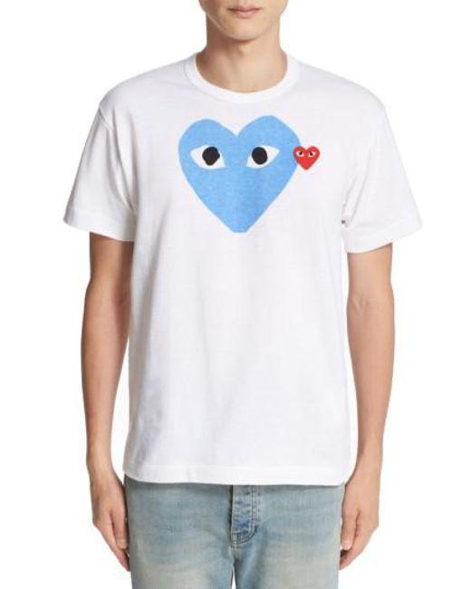 Play Comme des Garçons - White Heart Print T-shirt for Men - Lyst