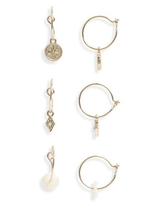 TOPSHOP - Metallic 3-pack Mini Drop Hoop Earrings - Lyst