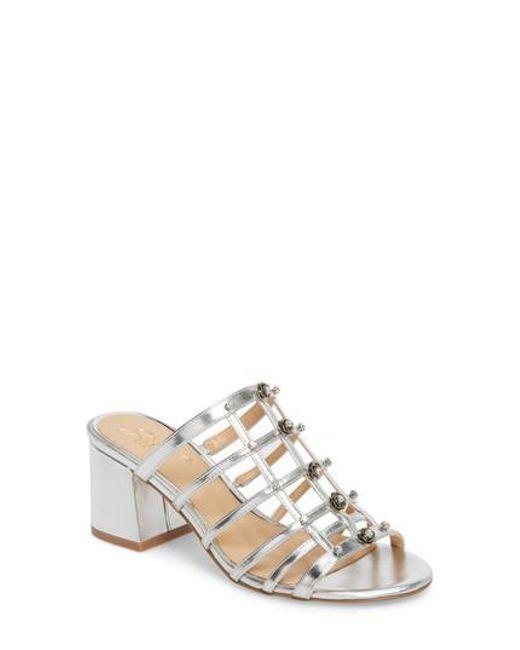 Badgley Mischka Women's Thorne Crystal Rose Embellished Slide Sandal 1035DuJ0