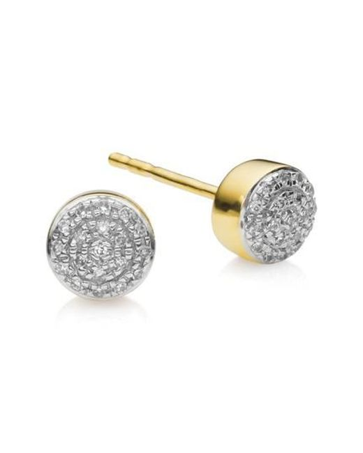 Monica Vinader - Metallic Fiji Mini Diamond Button Stud Earrings - Lyst