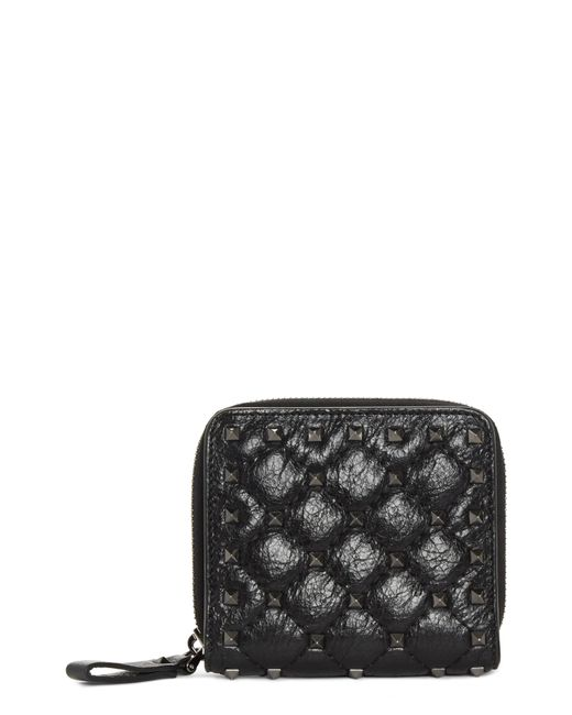 Valentino - Black Rockstud Leather French Wallet - - Lyst