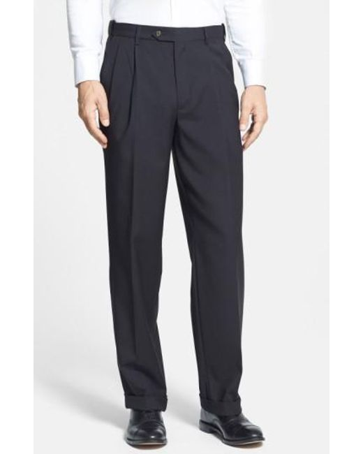 Berle | Black Self Sizer Waist Pleated Trousers for Men | Lyst
