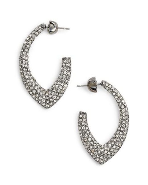 Jenny Packham | Metallic Pave Marquise Hoop Earrings | Lyst