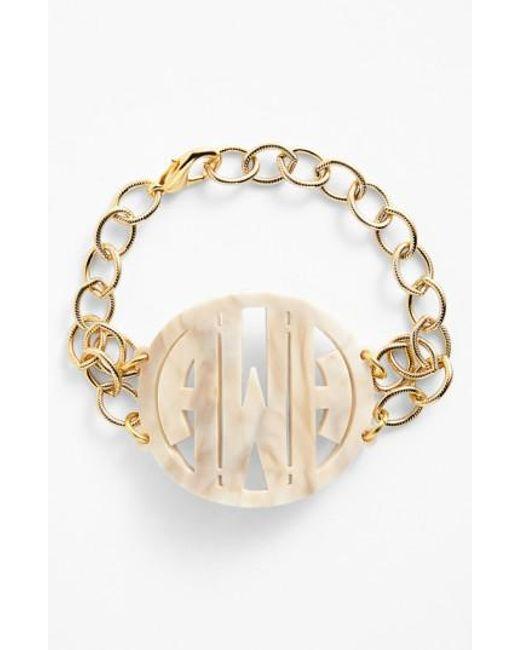 Moon & Lola | Metallic 'annabel' Large Personalized Monogram Bracelet | Lyst