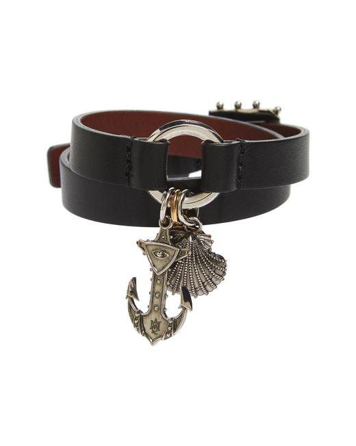 Alexander McQueen - Black Marine Leather Wrap Bracelet - Lyst
