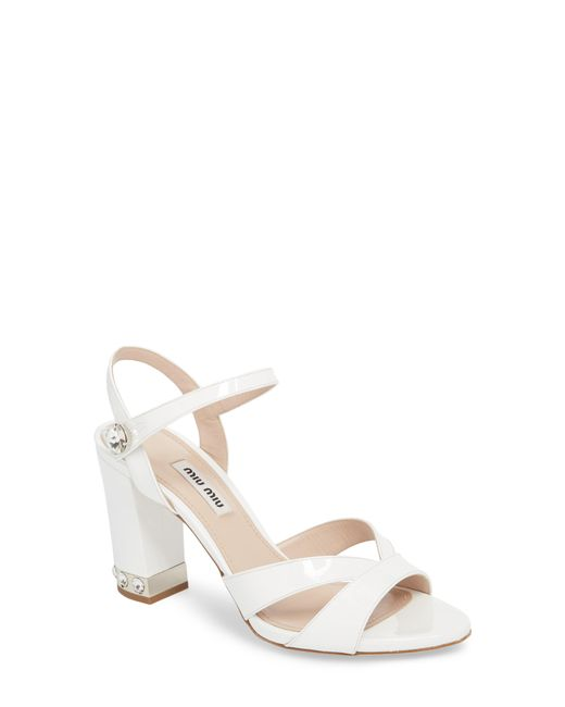 Miu Miu - White Jeweled Heel Sandal - Lyst