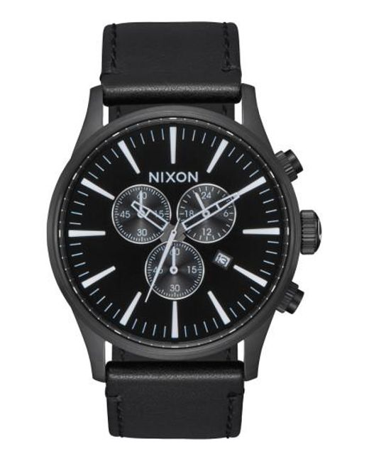 Nixon   Black The Sentry Chronograph Leather Strap Watch for Men   Lyst