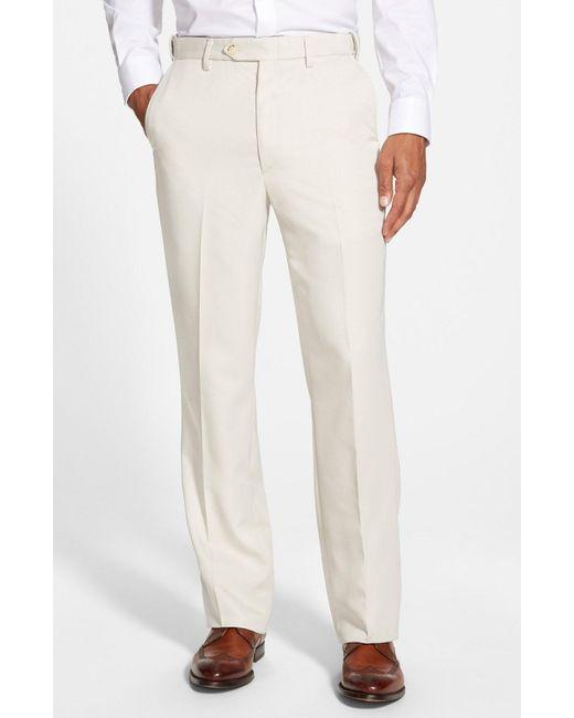 Berle - Blue Self Sizer Waist Flat Front Trousers for Men - Lyst