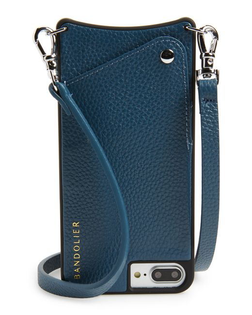 Bandolier - Blue Pebbled Leather Iphone 6/7/8 Plus Crossbody Case - Lyst
