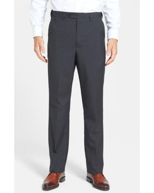 Berle - Gray Self Sizer Waist Tropical Weight Flat Front Trousers for Men - Lyst