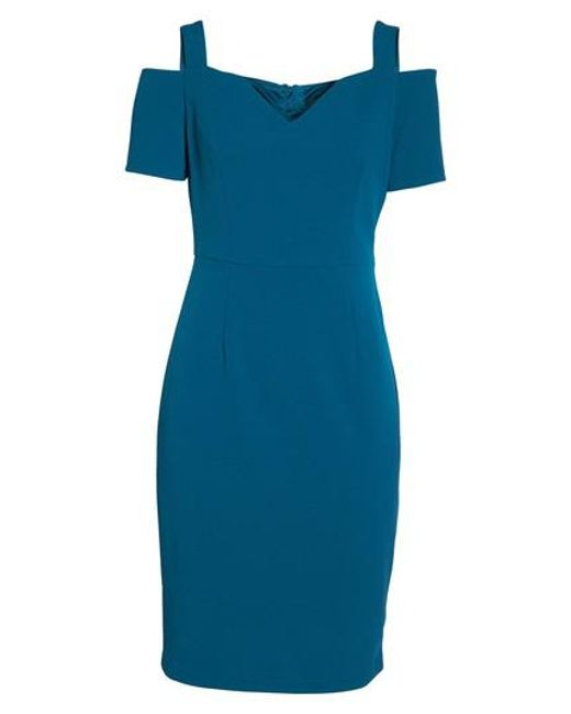 Adrianna Papell | Blue Cold Shoulder Crepe Dress | Lyst