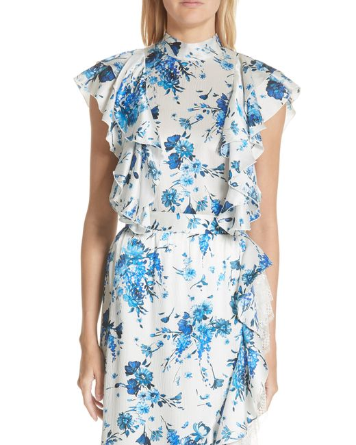 Adam Lippes - Blue Floral Print Hammered Silk Tie Neck Top - Lyst