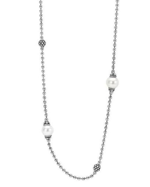 Lagos | Gray 'luna' Pearl Station Necklace | Lyst
