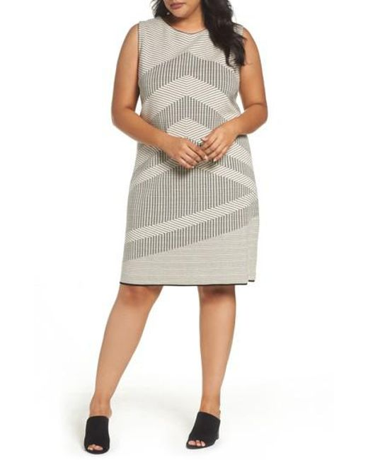 NIC+ZOE | Gray Mantra Chevron Stripe Knit Sheath Dress | Lyst