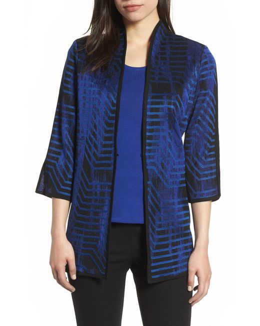 Ming Wang - Blue Jacquard Knit Jacket - Lyst