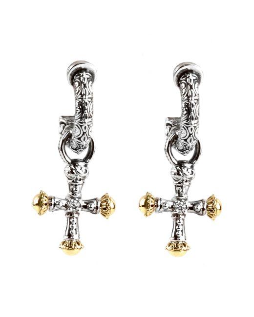 Konstantino Metallic Cross Drop Earrings Lyst
