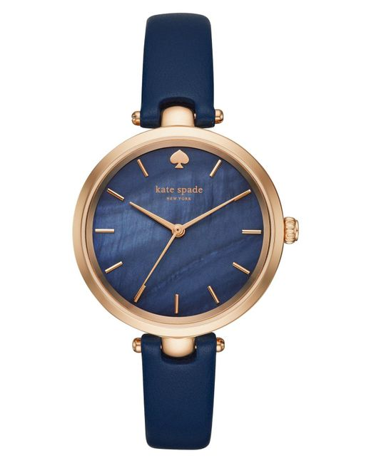 Kate Spade - Multicolor 'holland' Round Leather Strap Watch - Lyst