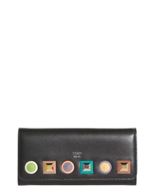 Fendi - Black Rainbow Stud Calfskin Leather Wallet On A Chain - Lyst