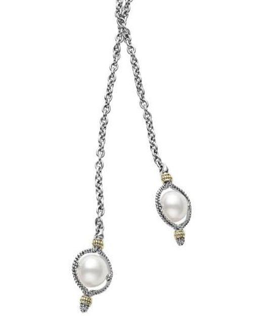 Lagos - Metallic Luna Pearl Lariat Necklace - Lyst