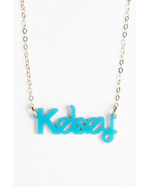 Moon & Lola | Metallic 'zebra Block Font' Personalized Nameplate Pendant Necklace | Lyst