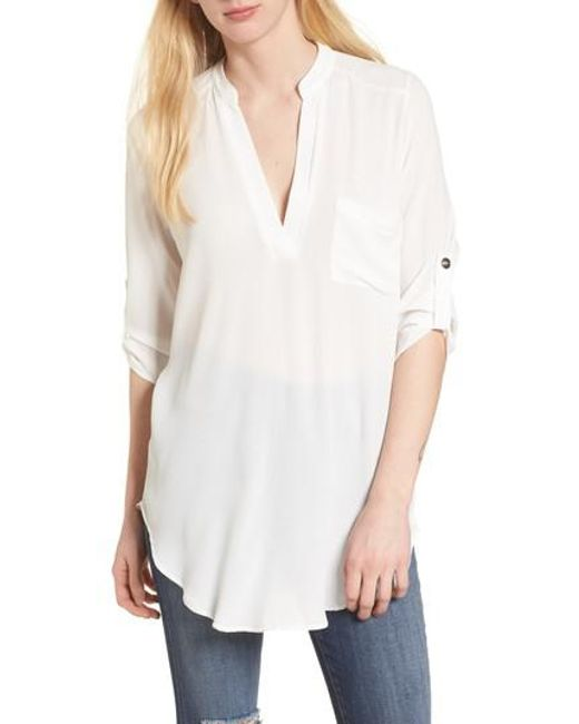 Lush - White Perfect Crepe Tunic Top - Lyst