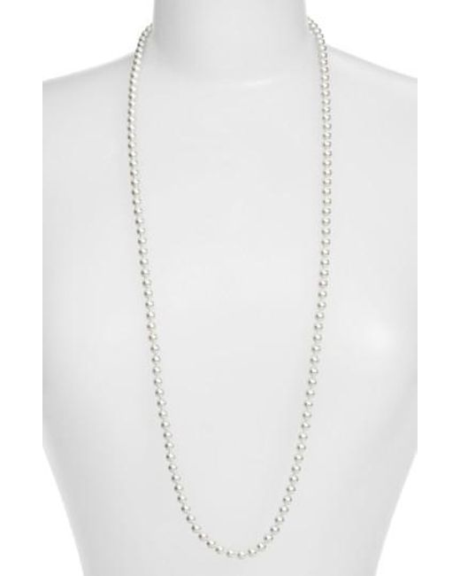 Nadri - White Imitation Pearl Long Necklace - Lyst
