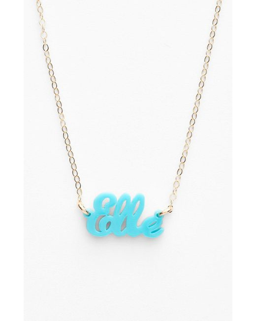 Moon & Lola - Blue 'script Font' Personalized Nameplate Pendant Necklace - Lyst