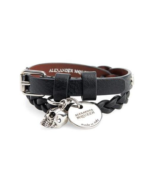 Alexander McQueen - Black Leather Wrap Bracelet for Men - Lyst