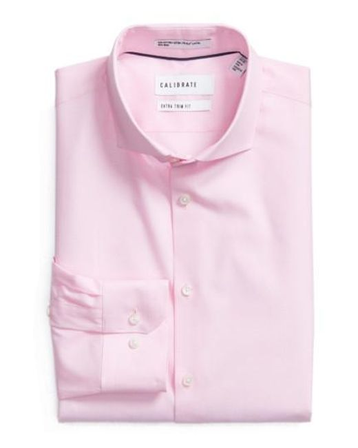Calibrate | Pink Extra Trim Fit Stretch No-iron Dress Shirt for Men | Lyst