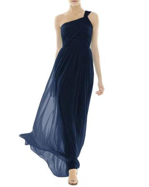 Alfred Sung | Blue One-shoulder Shirred Chiffon Gown | Lyst