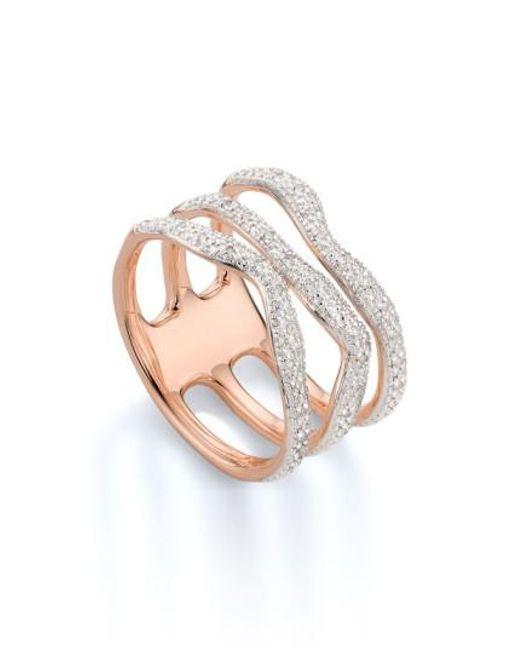 Monica Vinader   White 'riva' Three Band Diamond Ring   Lyst