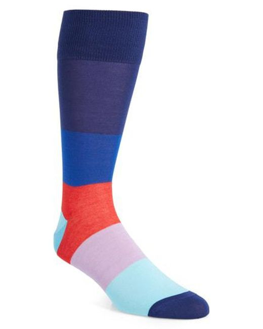 Calibrate - Blue Blocked Ombre Socks for Men - Lyst