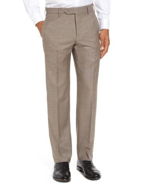 Zanella | Natural Parker Flat Front Sharkskin Wool Trousers for Men | Lyst