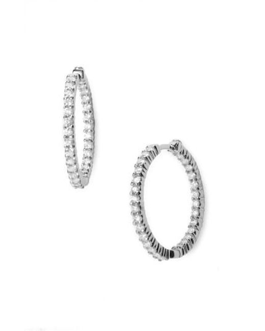 Roberto Coin - Metallic Diamond Hoop Earrings - Lyst