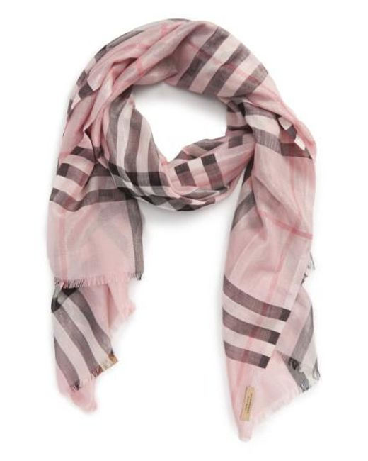 Burberry | Pink Metallic Giant Check Scarf | Lyst