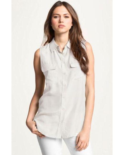 Equipment | White 'slim Signature' Sleeveless Silk Shirt | Lyst