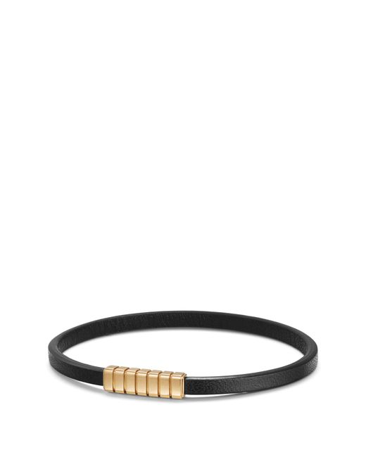David Yurman - Black Southwest Narrow Leather Bracelet With 18k Gold for Men - Lyst