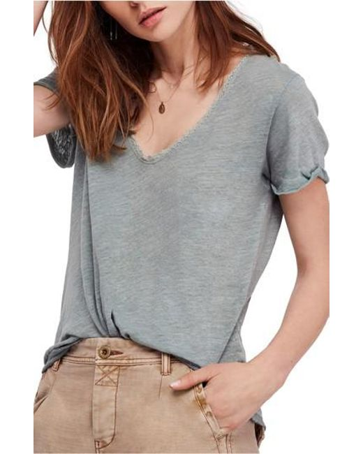 Free People - Green Saturday Lace Trim Linen Blend Tee - Lyst