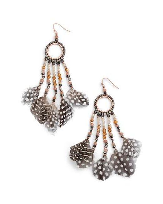 Nakamol | Metallic Multi-feather Drop Earrings | Lyst