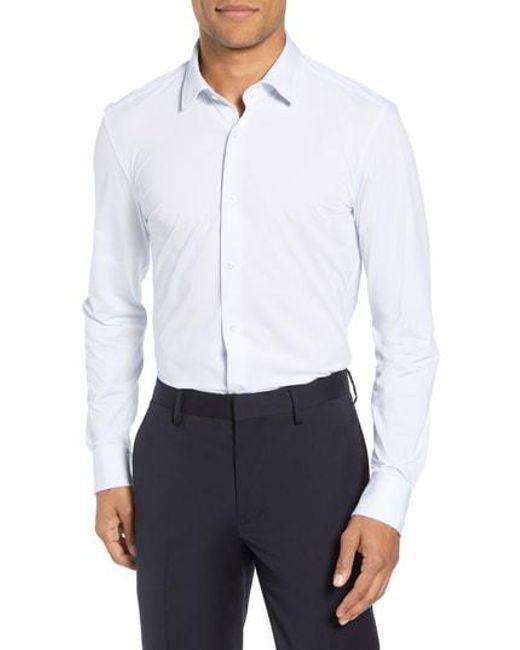 BOSS - Blue Jenno Slim Fit Dot Dress Shirt for Men - Lyst