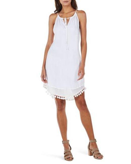 Michael Stars - White Tassel Trim Tank Dress - Lyst