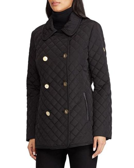 Lauren by Ralph Lauren - Black Double Breasted Quilted Coat - Lyst