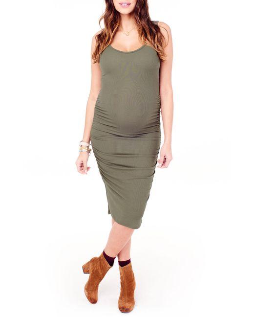 Ingrid & Isabel - Green Ingrid & Isabel Shirred Midi Maternity Tank Dress - Lyst